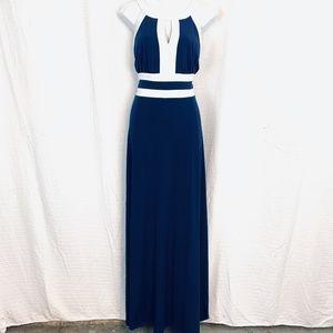 SANGRIA Navy White Maxi Sleeveless Knit Dress 14